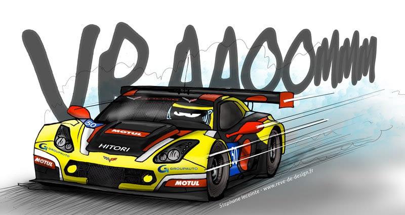 illustration dessin compétition auto